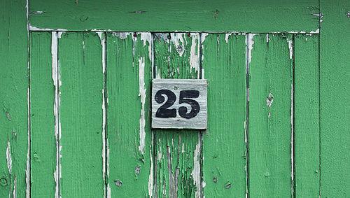 25, veinticinco, número, puerta