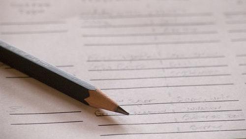 Lápiz, papel, nota, rating, examen