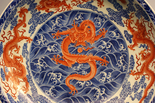 China, dragón, porcelana