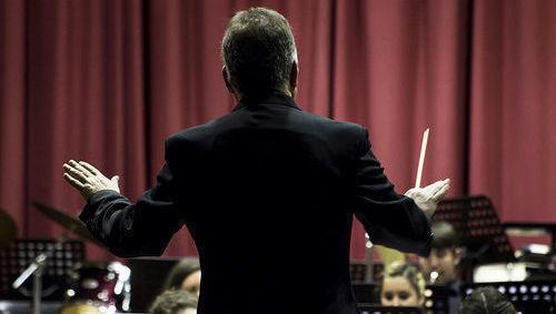 orquesta, director, música, pauta