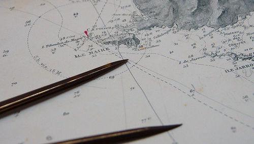 Carta navegación, mapa, lápiz