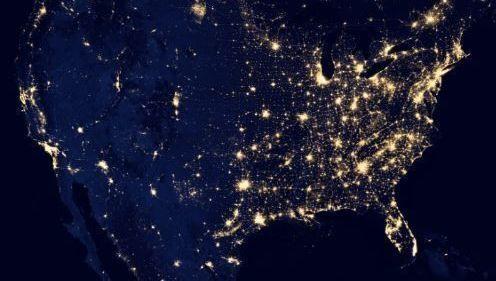 Estados Unidos, EEUU, mapa, noche, estrellas, alfa