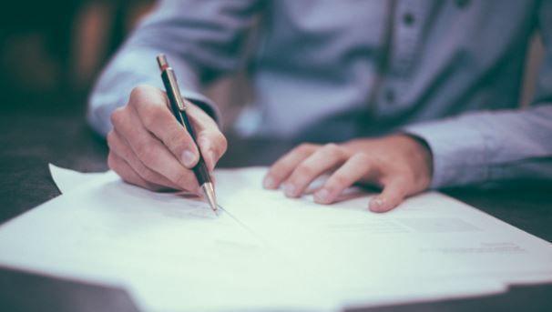carta, boligrafo, contrato, nombramientos