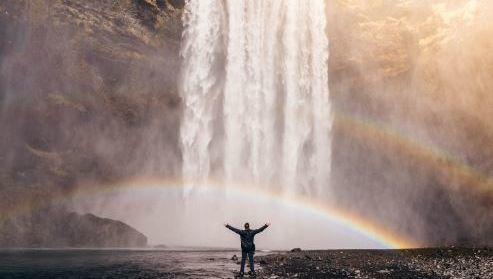Arco iris, macro, éxito, cascada