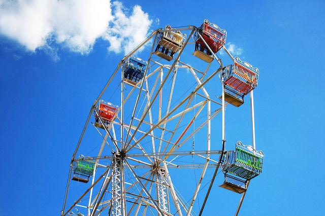 roda, azul, cor, casa, diversão, parque