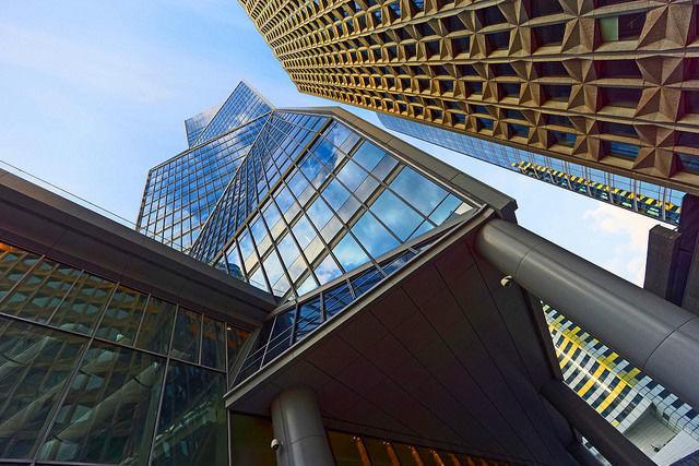 perspetivas, janelas, prédio, edifício