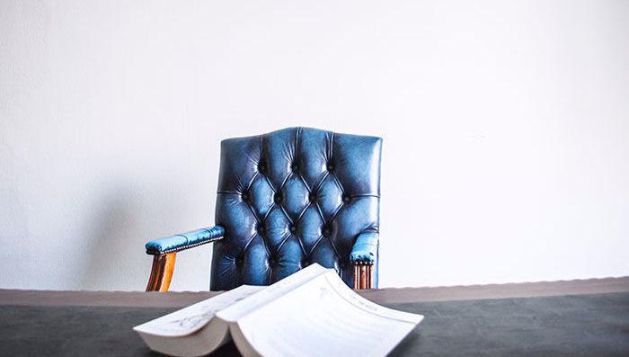azul, secretária, cadeira