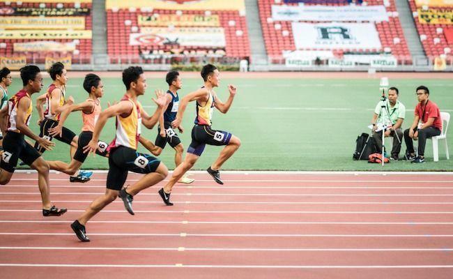 Vencedor lider meta atletismo corrida