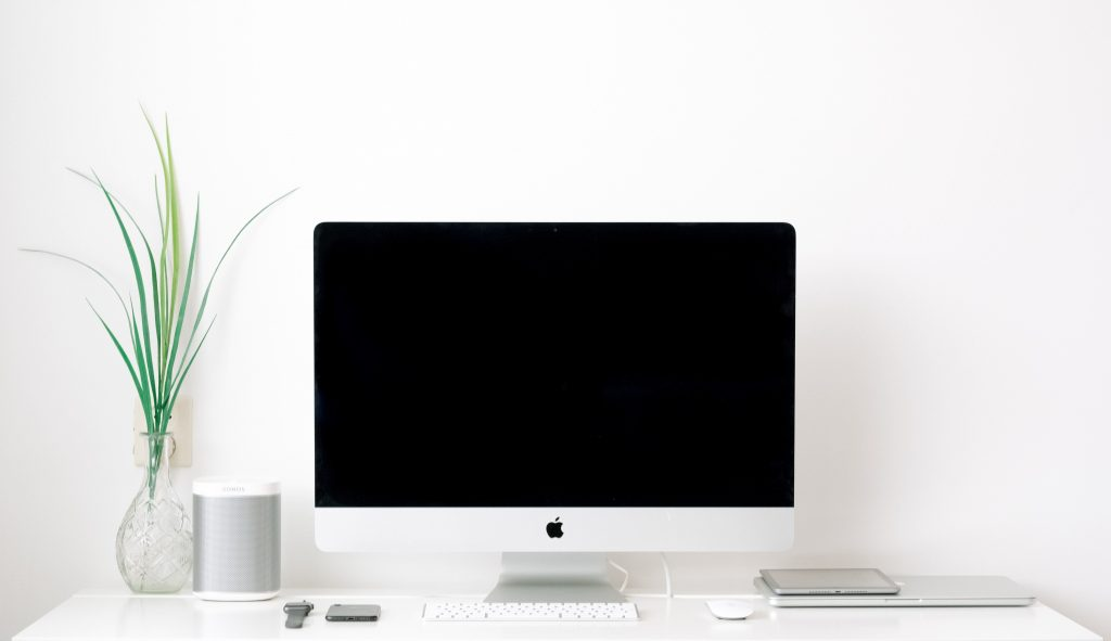 mesa, planta, escritorio