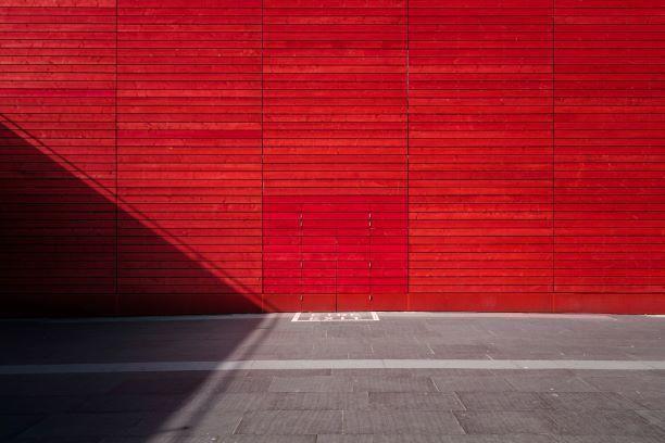 vermelho, cor, parede